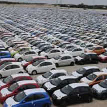 Image of cars in an auto manufacturers lot