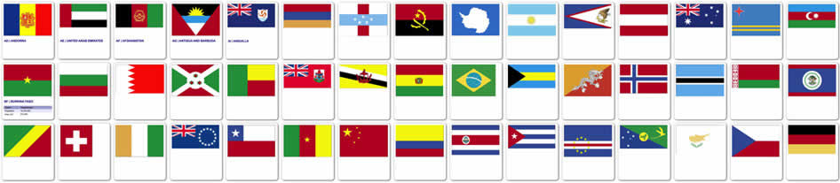 Flag icons representing GFG customer base